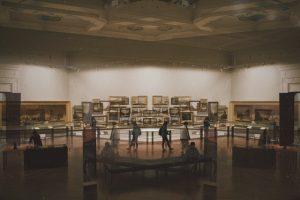 People inside art gallery
